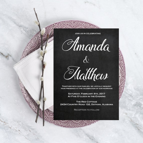 Wedding Invitation PDF - Editable Wedding Invitation - Printable Wedding Invitation - Wedding Chalkboard - Downloadable Wedding #WDH0183
