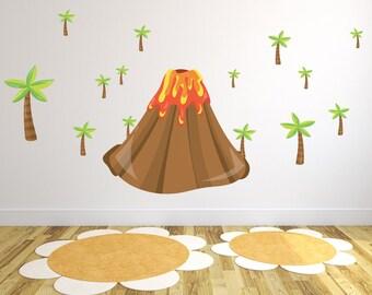 Volcano Wall Decal for Nursery / Cartoon Volcano Wall Sticker / Boy's Volcano Wall Decal / Wall Decal Volcano for Kid's Playroom - DGWD10001