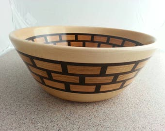 Segmented wooden bowl #816. Food safe, one of a kind, great wedding gift