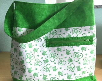 American Sign Language (ASL) Print Shoulder Tote Bag in Green with Stripes