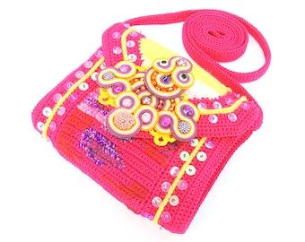 Sunset small crochet bag with soutache