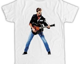 George Michael Guitar T-shirt birthday present ideal gift cool retro t-shirt