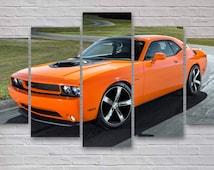 Orange Dodge Challenger - Muscle Car 5 Panel / Piece Canvas  - Wall Art - Office - Bedroom Wall Art - Multi Panel - #039