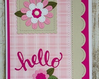 hello greeting card, thinking about you cards, cards with flowers, pink cards,