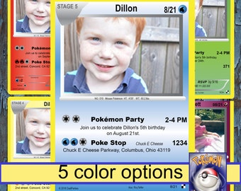 Pokemon birthday, Pokemon, Birthday Invitation, Pokemon card, Pokemon invite, Pokemon Party,  Pokemon invitations, Pokemon birthday card,