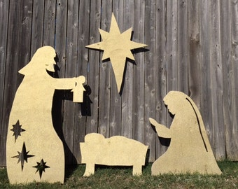 Large 4 piece glitter wooden silhouette yard nativity