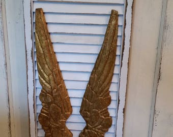 Gilded Wings on distresed off white shutter. embellished with a Faith Cross