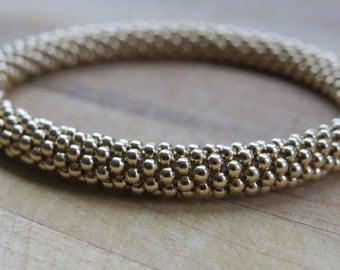 Gold Filled Crochet Bracelet - 2mm Beads