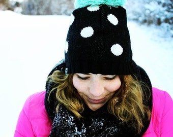 NZ wool adult beanie - great with dots or stars & mint or mocha pompom
