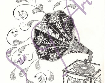 Put Your Record On - Gramophone Zentangle Art Print