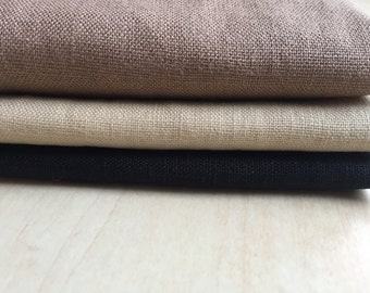 Linen Napkins with Stitching (set of four) | beige napkins | black napkins | taupe napkins