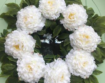 Gorgeous white tree peony faux door Wreath