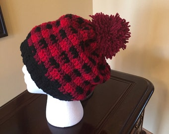 Ladie's Slouchy Hat Plaid - Large