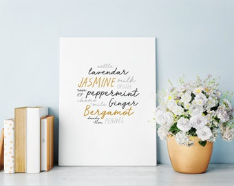 Herbal Tea Typography Print • Plant Type Printable Poster • Wall Quote Digital Download • Wall Decor