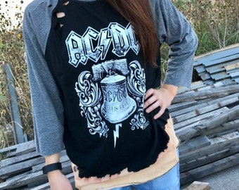 AC/DC 3 quarter sleeve distressed shirt