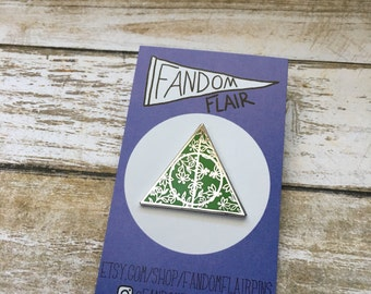 Deathly Hallows Pin, Slytherin Pin, Floral Deathly Hallows Pin
