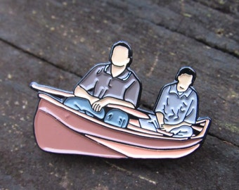 "SALE Joey and Chandler in a Canoe - Enamel Pin - 1.25"", friends pin, chandler bing, joey tribbiani, chick and duck"