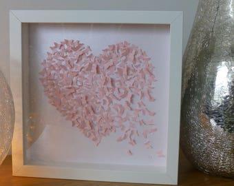 Pale Pink Butterfly Heart Framed Wall Art