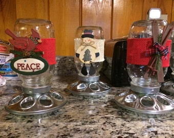 Mason Jar candy dispenser or bird feeder