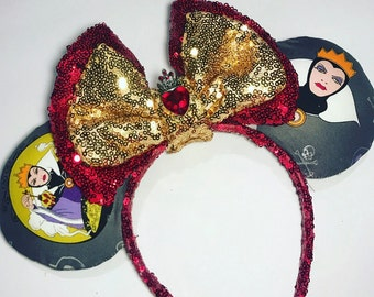 Evil Queen Ears inspiration from Snow White, villain, minnie, Mickey Mouse ears headband, disney,