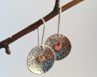 Heart Beat -  Recycled Sterling Silver contemporary earrings.