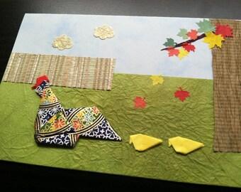 Handmade Origami Hen Chicks Card