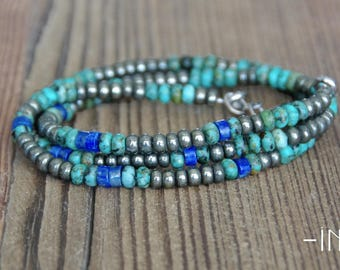 3 towers and unisex necklace pyrite, lapis lazuli and turquoise bracelet 4mm INZ - I - model NICK