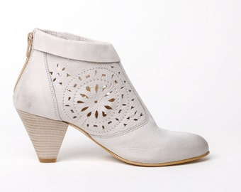 Women's leather ankle boots, clear beige leather high heel booties, laser cut decorated leather women shoes, leather ankle boots white heels