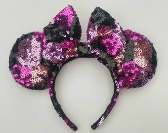 Shades of Pink and Black Harlequin Sequined Sparkling Disney Inspired Minnie Mouse Park Ears w/ Large Bow. READY TO SHIP!