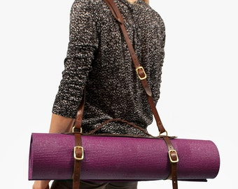 The Braided Classic Yoga Strap - Full Grain Vegetable Tanned Leather Yoga Mat Strap / Blanket / Camping Pad Carrier Handmade in Portland, OR