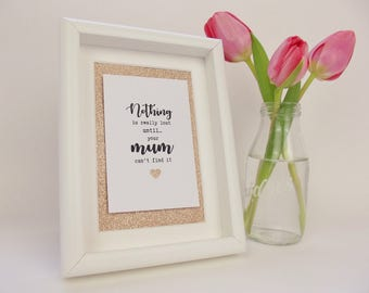 Gift for mothers/ Rose gold print and frame/ wall art / quote for mums