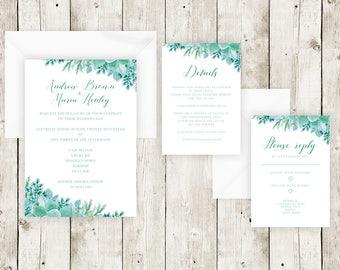 Green floral wedding invitations, Vintage wedding invitations , Green wedding invitation , Floral Invitations, Nature invitations