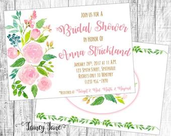 Bridal Invitation, Bridal Shower Invitation, Customized Shower Invitation, Customized Bridal Invitation, Flower Invitation