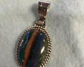 Multicolor Gemstone Sterling Silver Necklace Pendant