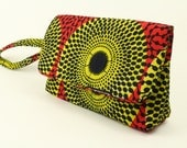 Yellow Record African ClutchWristlet 100 Cotton Ankara Clutch African Hand Bag African Wax Ankara Clutch Hang bag Handbag