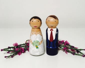 Wedding Cake Toppers - Wooden Peg Dolls - Personalised - Customised - Bride and Groom - Waldorf Inspired - Keepsake - Homemade - Handpainted