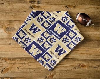 HUSKY- Reversible University of Washington (UW) Football, purple, gold, dog bandanna, pet accessory, Tie-On Dog Bandana