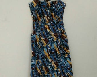 Vintage abstract print maxi sundress with pockets