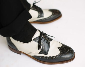 Kirk D.-Black & White- derby shoes-custom shoes- brogues-Mens shoes-Handmade Shoes- Leather shoes-shoes-men shoes-leather