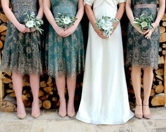 Bespoke Vintage Style Bridesmaid Dresses in Green and Gold