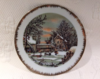 """Currier & Ives - plate decorative """"The Farmer's Home - Winter"""" / / made in the Japan"""