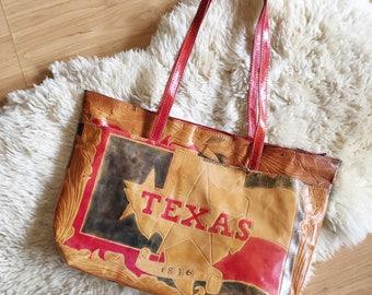 S A L E Large Vintage Tooled Shoulder Bag // Everything's Bigger in Texas