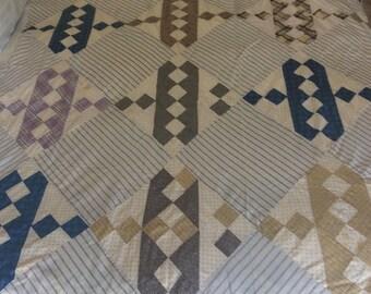 1800's Jacobs Ladder design Vintage quilt top.