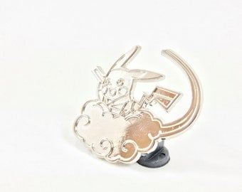 Pikachu on Nimbus Cloud Pin (SILVER)