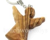 Olive wood keyring guardian angel wooden key ring