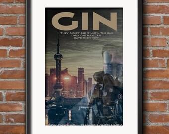 Gin art print, gin, the movie, alternative movie poster, kitchen art, living room art, gin wall art, kitchen wall art, gin print, gin,