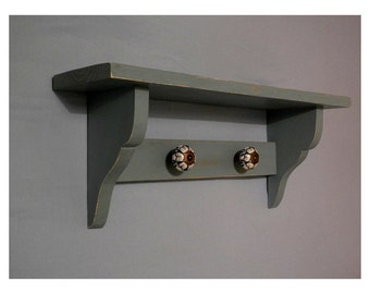 Shelf racks, coat racks, hangers, ceramic knobs, Shabby Chic