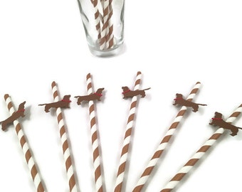 Sausage Dog Dachshund party straws-dog themed party,dog birthday party,dog straws,dog theme