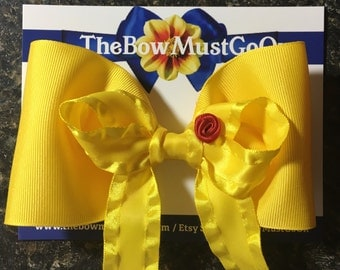 Belle Bow/Yellow Bow/Yellow Belle Bow/Stacked Bow/Belle Inspired Bow/Disney Inspired Bows/Beauty and The Beast Inspired Bows