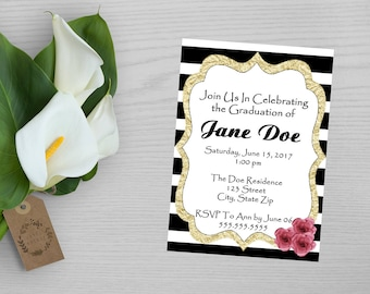 Black and White Striped Graduation Invitation-Gold Graduation Invitation-Formal Graduation Invitation-Graduation Announcement-Graduation